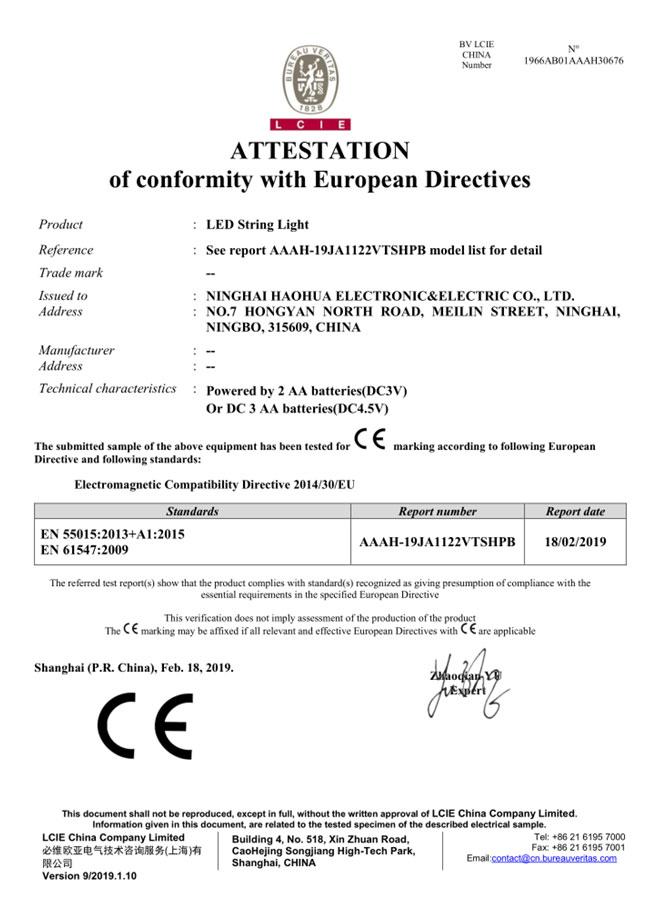 Lamp String CE Attestation EU_EMC